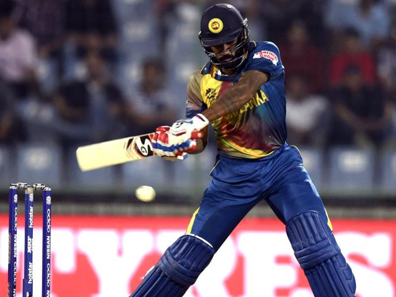 Chamara Kapugedera hits a shot. (Sanjeev Verma/HT Photo)