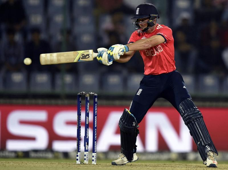 England`s Jos Buttler hits a shot. (Sanjeev Verma/HT Photo)