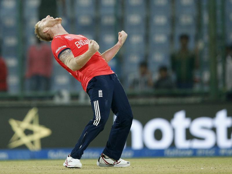 England's Ben Stokes celebrates after they defeated Sri Lanka by 10 runs during their ICC World T20 cricket match at the Feroz Shah Kotla stadium in New Delhi on March 26, 2016. (AP)
