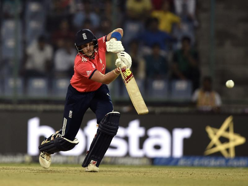 England`s Joe Root hits a shot. (Sanjeev Verma/HT Photo)