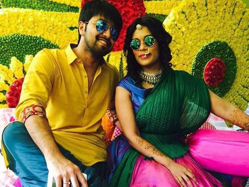 Sreeja and Kalyan pose for the shutterbugs before their wedding. Kalyan is the son of businessman Captain Kishan, whose family is involved in jewellery business. (Manojvalluri/Twitter)