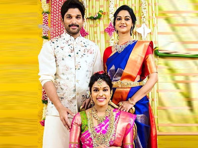 Sreeja poses for the camera here with her cousin, actor Allu Arjun and his wife Sneha. (Alluarjunfc/Instagram)