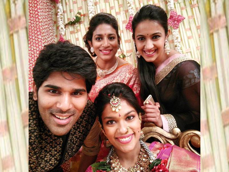 The families of Kalyan and Sreeja have been friends and known each other for long. Sreeja will move to USA post her marriage. Sreeja with another cousin actor Allu Sirish and others. (AlluSirish/Twitter)