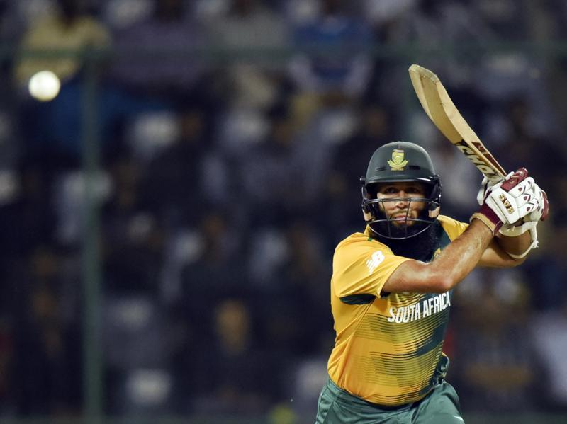 Hashim Amla top scored for South Africa with 56 off 52 balls. (Mohd Zakir/HT Photo)