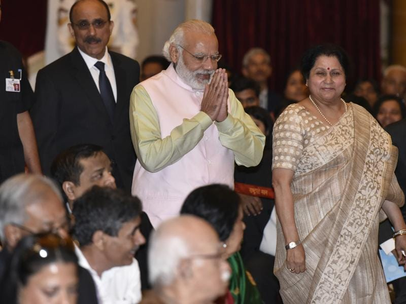 PM Narendra Modi during the Padma Awards ceremony. (Photo: Virendra Singh Gosain/ Hindustan Times)
