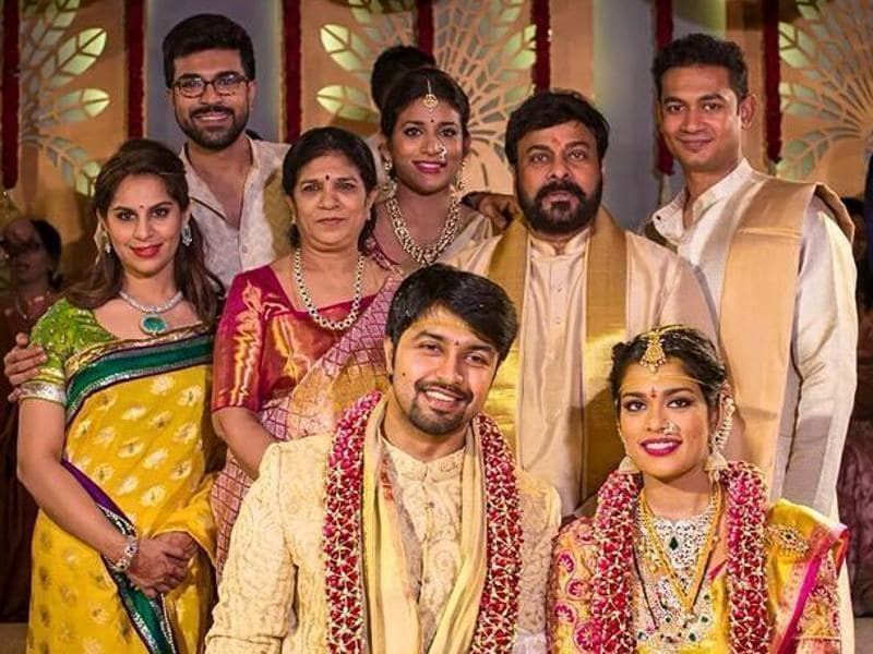 Telugu superstar Chiranjeevi's younger daughter Sreeja Konidela married NRI businessman Kalyan on March 28 in Bangalore at her father's farm.  Seen here, the star and his wife Sulekha with the couple,  son Ram Charan Teja and his wife Upasana (extreme left) and elder daughter Sushmitha and her husband (extreme right). (MEGASTARCHIRANJEEVI/Facebook)