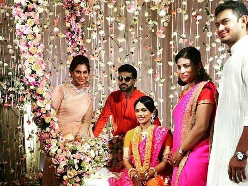 Sreeja with her brother Ram Charan, sister-in-law Upasana, sister Sushmitha and her husband. (MEGASTARCHIRANJEEVI/Facebook)
