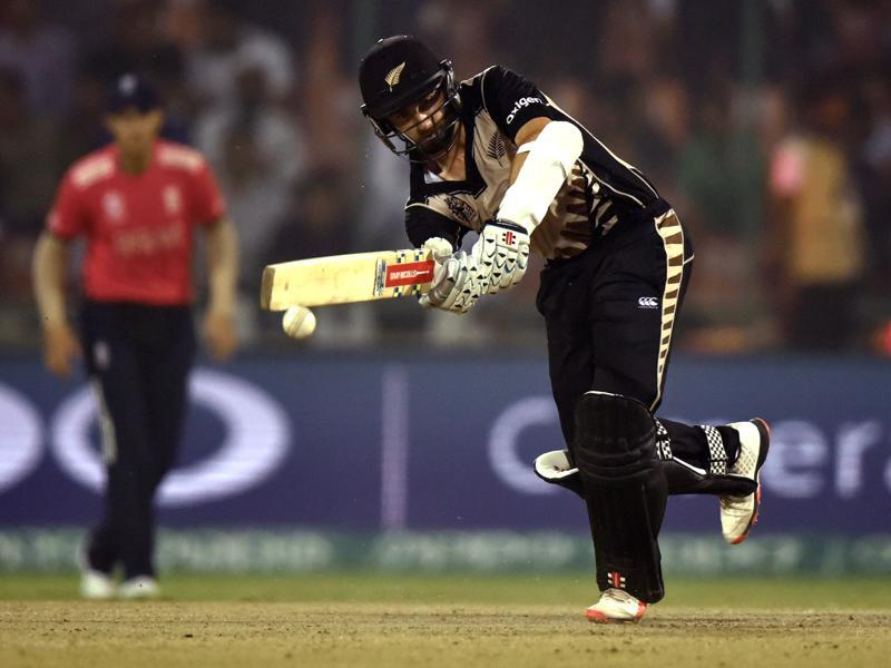 Kane Williamson hits a shot. (Virendra Singh Gosain/HT Photo)