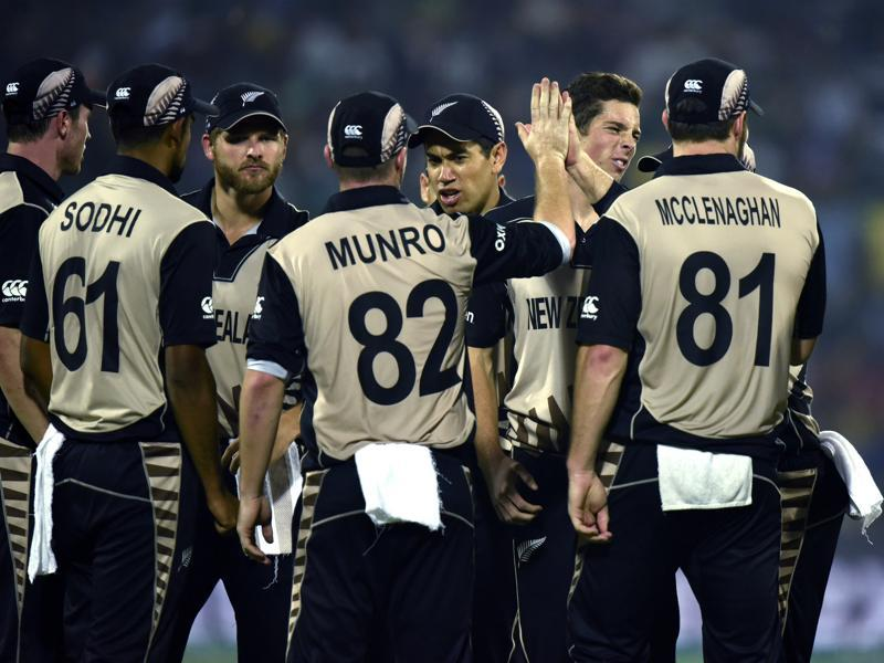New Zealand team members celebrate a wicket. (Virendra Singh Gosain/HT Photo)