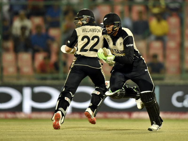 Martin Guptill and Kane Williamson running between the wickets. (Virendra Singh Gosain/HT Photo)