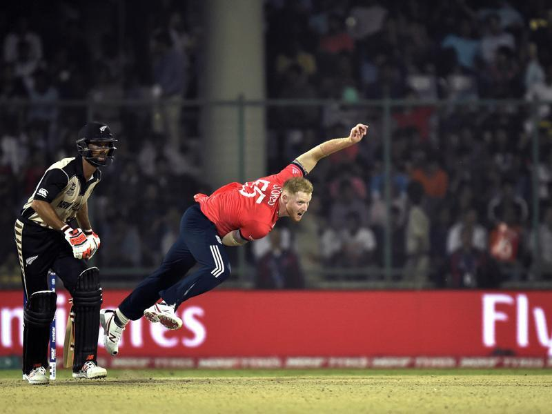 Ben Stokes during his bowling followthrough. (Ajay Aggarwal/HT Photo)