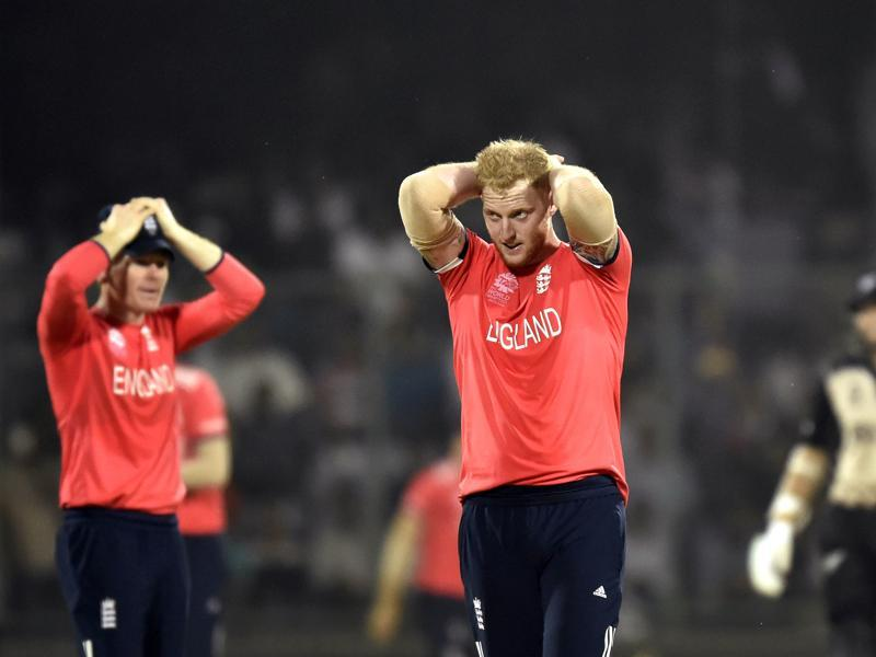 England bowler Ben Stokes and captain Eoin Morgan react after a missed run out. (Virendra Singh Gosain/HT Photo)