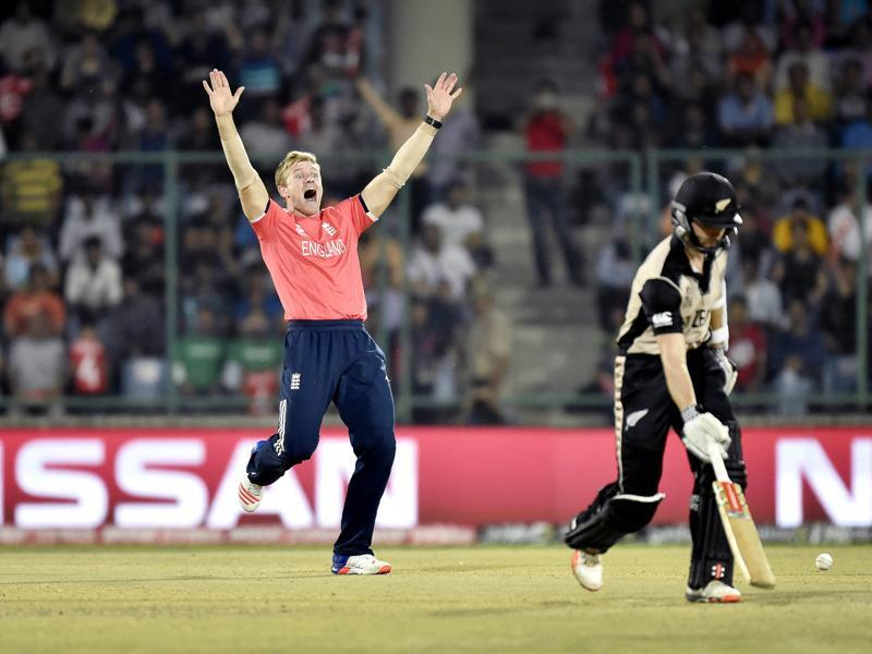 David Willey appeals unsuccessfully for the wicket of Martin Guptill. (Ajay Aggarwal/HT Photo)