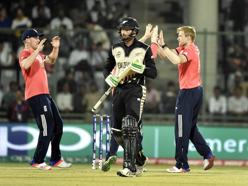 David Willey celebrates the dismissal of New Zealand player Martin Guptill. (Ajay Aggarwal/HT Photo)