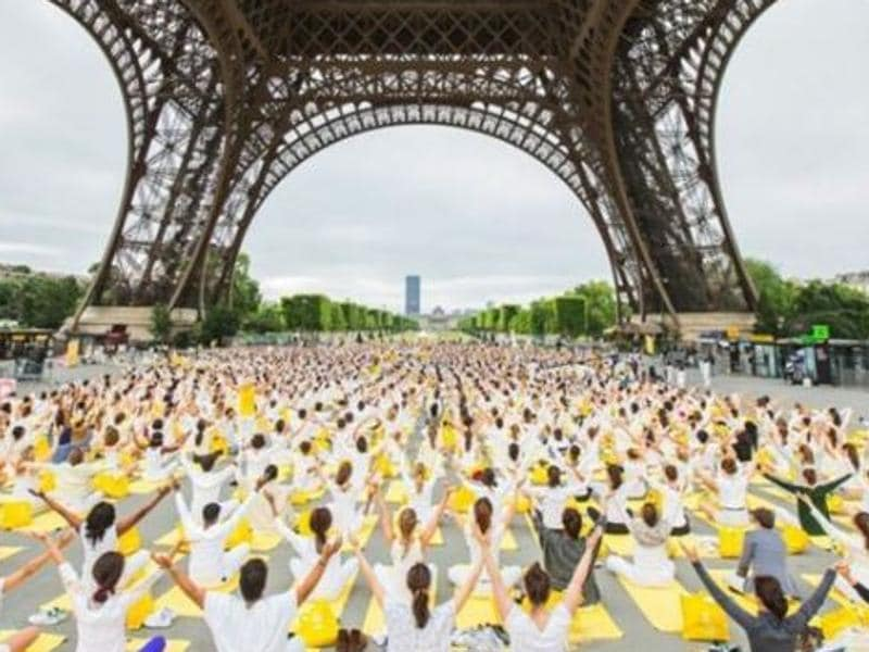 Over the years, it has become the stage for numerous events of global significance. In this image, thousands of yoga enthusiasts participate in a session at the foot of the Eiffel Tower as part of an international tour.  (Instagram)
