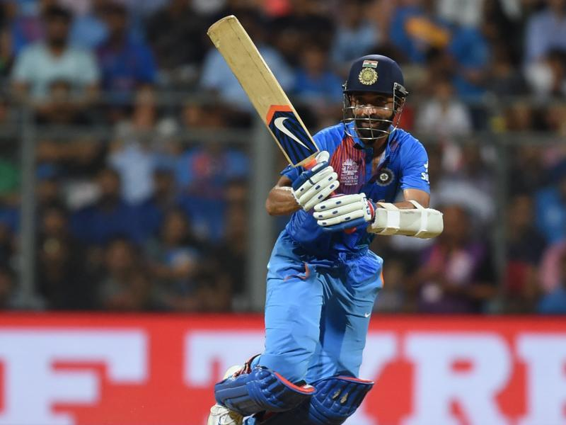 India's Ajinkya Rahane plays a shot during ICC T-20 2016 Cricket World Cup. (Kunal Patil/HT Photo)
