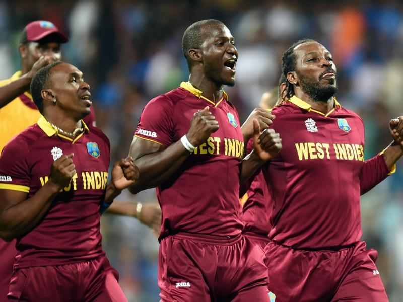 West Indies celebrate the victory during ICC Twenty20 2016 Cricket World Cup Semi-final match. (Kunal Patil/HT Photo)