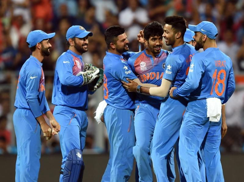 India's Jasprit Bumrah with his team mates celebrates the wicket of West Indies Chris Gayle. (Kunal Patil/HT Photo)