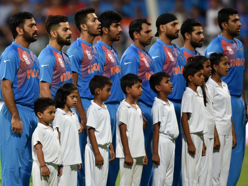 India's players standing for national anthem before the ICC Twenty20 2016 Cricket World Cup Semi-final match against India and West Indies. (Kunal Patil/HT Photo)