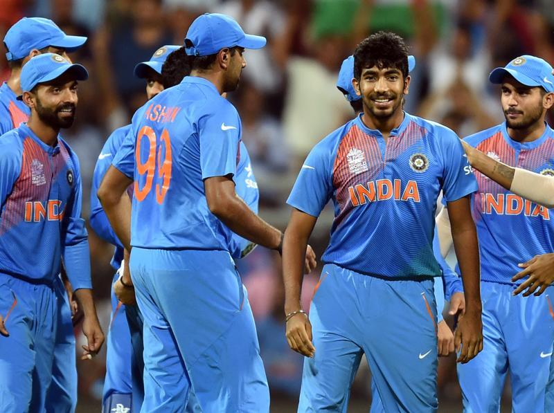 India's Jasprit Bumrah with his team mates celebrates the wicket of West Indies Chris Gayle during ICC Twenty20 2016 Cricket World Cup Semi-final match. (Kunal Patil/HT Photo)