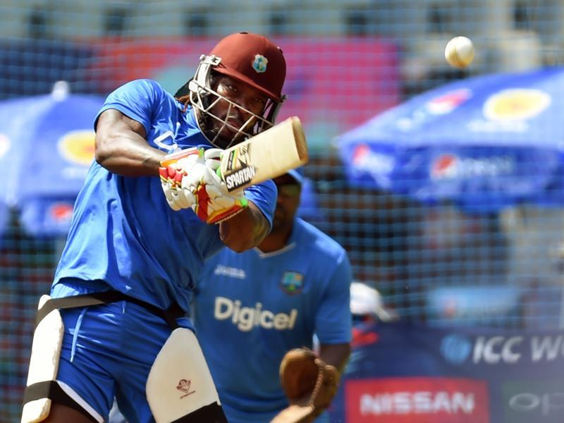 Chris Gayle is determined to grab the World Twenty20 limelight back from in-form Virat Kohli when the West Indies and India clash in a mouthwatering semi-final in Mumbai on Thursday. (Kunal Patil/HT photo)