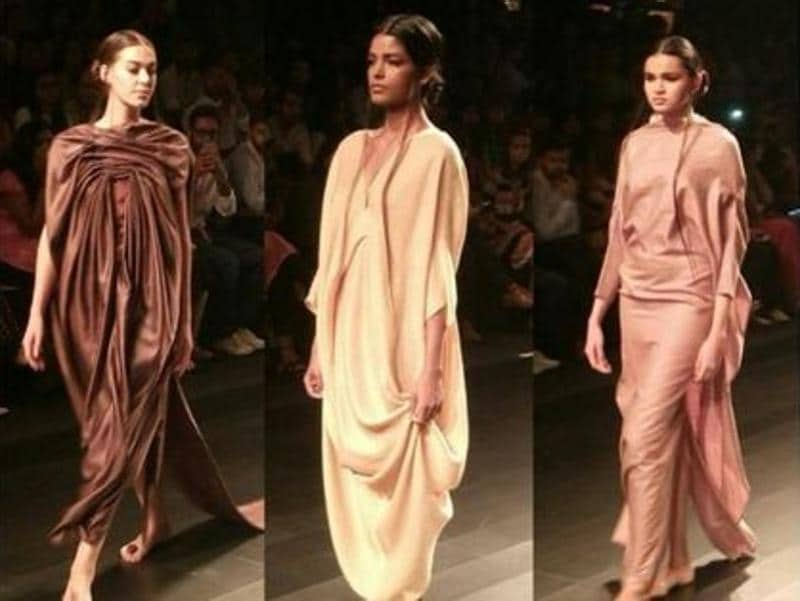 Flowy drapes by Pella Inc showcased at the fashion show. (Twitter)