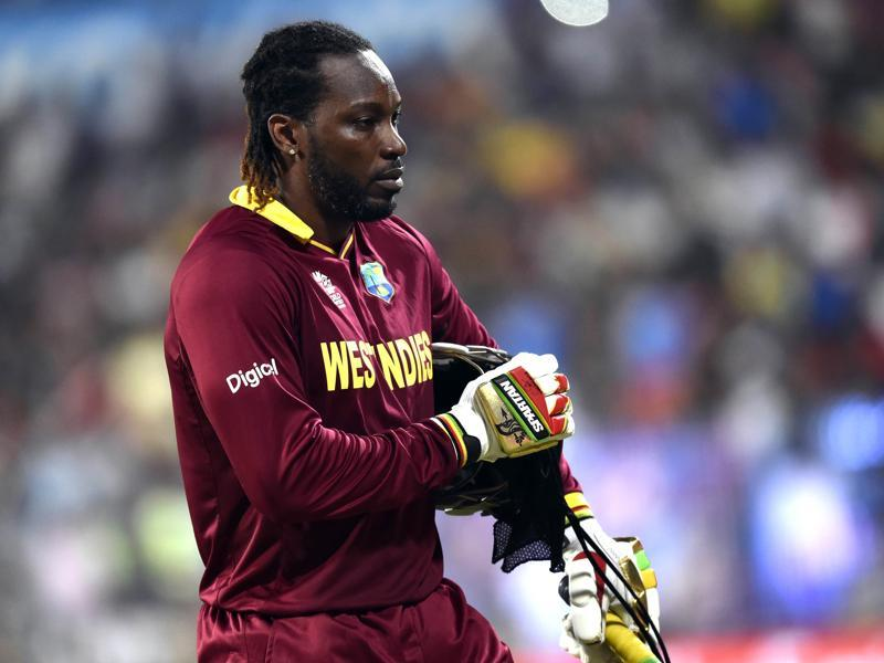 West Indies batsman Chris Gayle leaving the ground after dismissal. (Ajay Aggarwal/HT Photo)