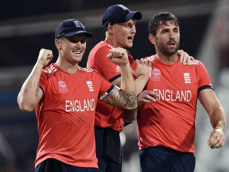 Players of England celebrating wicket in T20 World Cup final against West Indies. (Ashok Nath Dey/HT Photo)