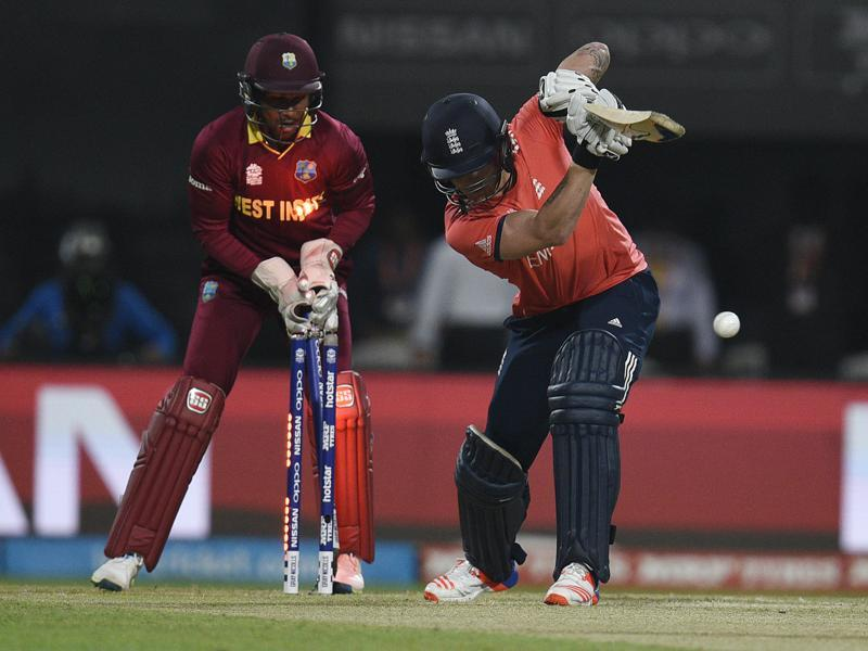 Jason Roy of England bowled in T20 World Cup final against West Indies. (Ashok Nath Dey/HT Photo)