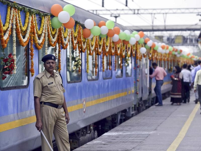 The train was decorated ahead of its maiden journey from the Hazrat Nizamuddin Railway Station on Tuesday. The maximum speed it clocks: 160 km per hour.  (Arun Sharma / HT Photo)