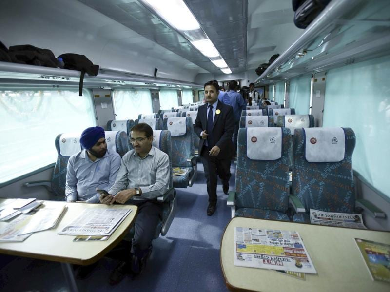 The Gatimaan express offers an all new ambience unprecedented in India. No whirring fans, no dirty floors. The train has two executive AC chair cars and eight AC chair cars. (Arun Sharma / HT Photo)