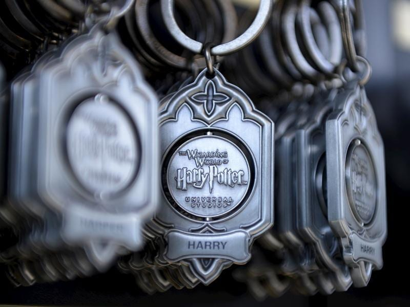 Key rings are on display for purchase outside Hogwarts School during a soft opening and media tour of The Wizarding World of Harry Potter theme park at the Universal Studios Hollywood in Los Angeles, California. (REUTERS)