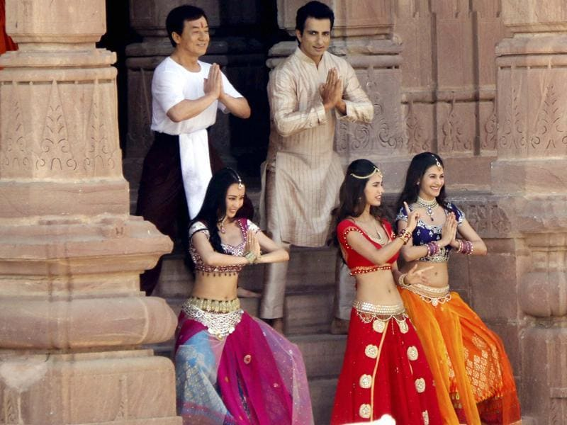 Hollywood actor Jackie Chan with actress Disha Patni and actor Sonu Sood shooting for film Kung Fu Yoga in Jodhpur's Mandore Gardens in Jodhpur on Monday.  (PTI)