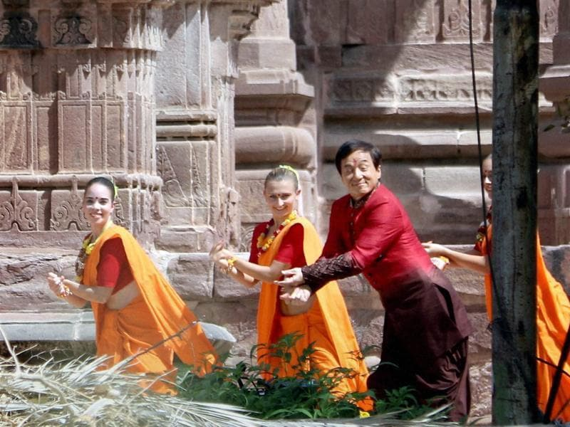 Hollywood actor Jackie Chan shooting for film Kung Fu Yoga. (PTI)