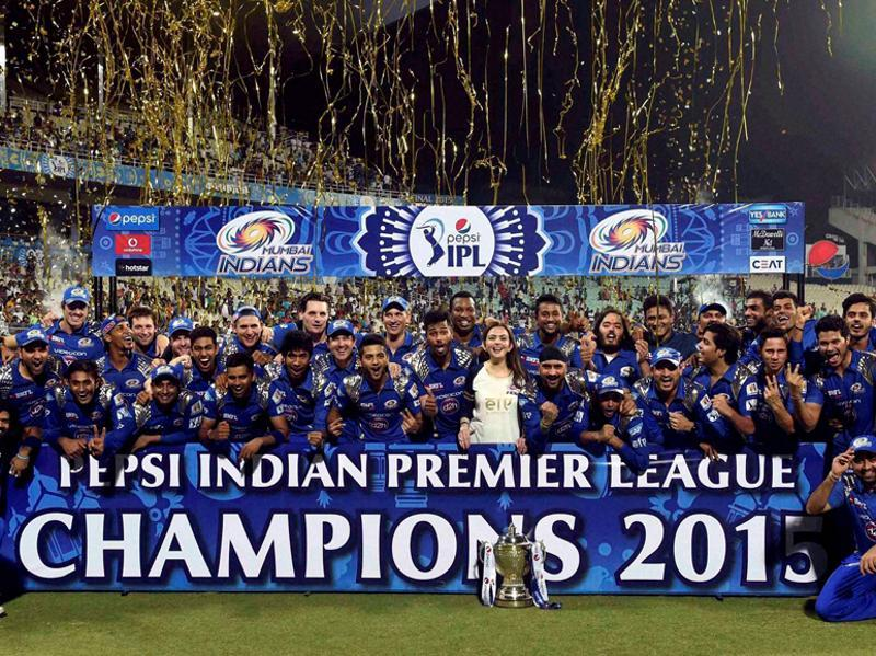 2015 champions Mumbai Indians pose with the trophy after winning their second IPL title.  (PTI Photo)
