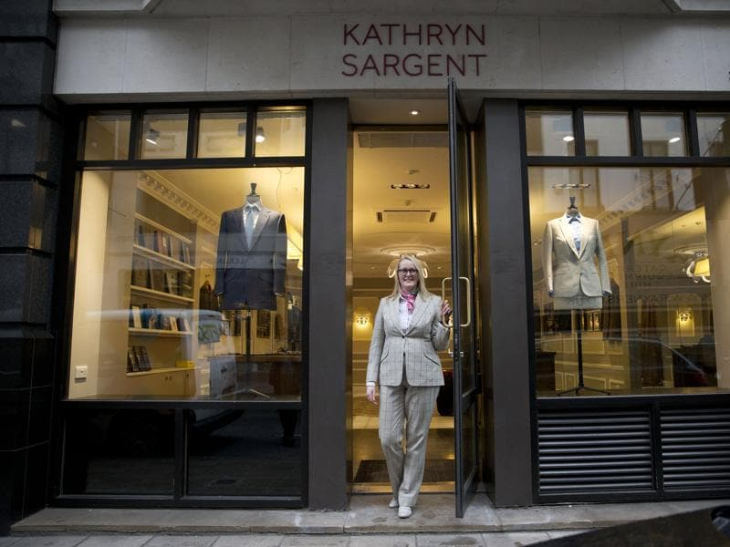 Kathryn Sargent made history on Wednesday by becoming the first female master tailor to open her own store on central London's Savile Row — the epicentre of traditional British bespoke tailoring. The tailoring house, which is number 37 Savile Row, opened to the public on Wednesday. (AP)
