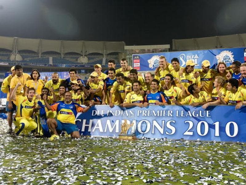 The Chennai Super Kings won the first of their two titles in 2010, led by captain MS Dhoni. (Getty Images)
