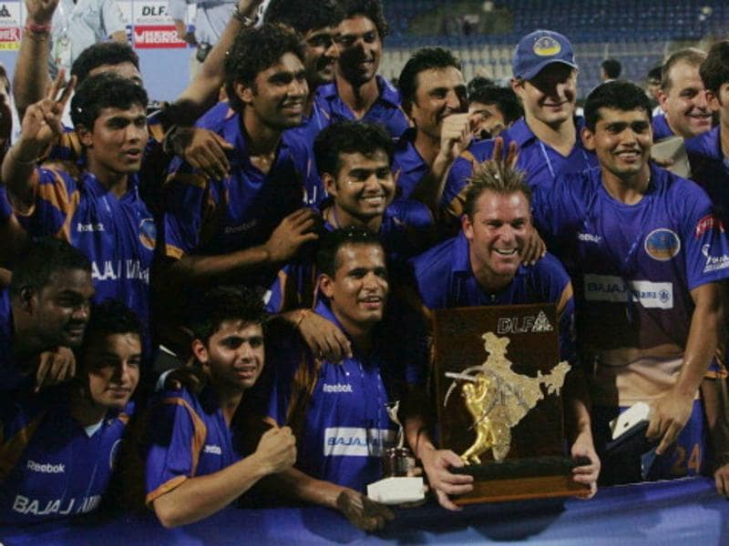 The Shane Warne-led Rajasthan Royals beat the Chennai Super Kings by three wickets to win the inaugural IPL, in 2008. (Santosh Harhare/HT Photo)