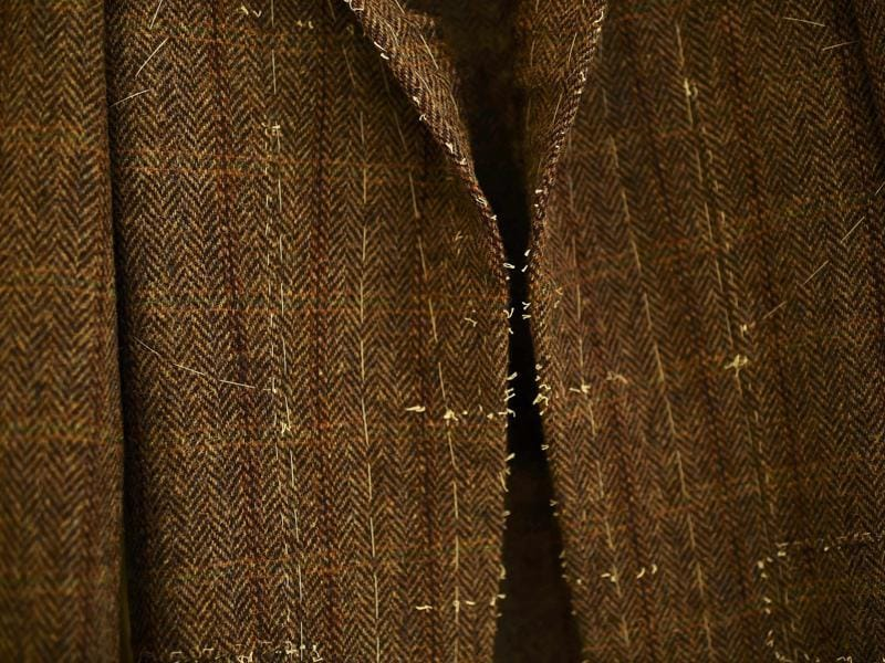 A jacket made by Sargent from her own fabric 'Sargent Harris Tweed' displayed at her Bespoke Tailoring shop.  (REUTERS)
