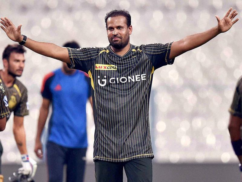 Kolkata Knight Riders' Yusuf Pathan enjoys a lighter moment during practice. (PTI)