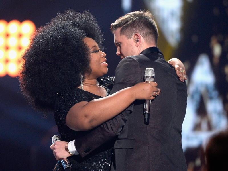 The final hug: Trent and La'Porsha embrace onstage during the performance. (AFP)