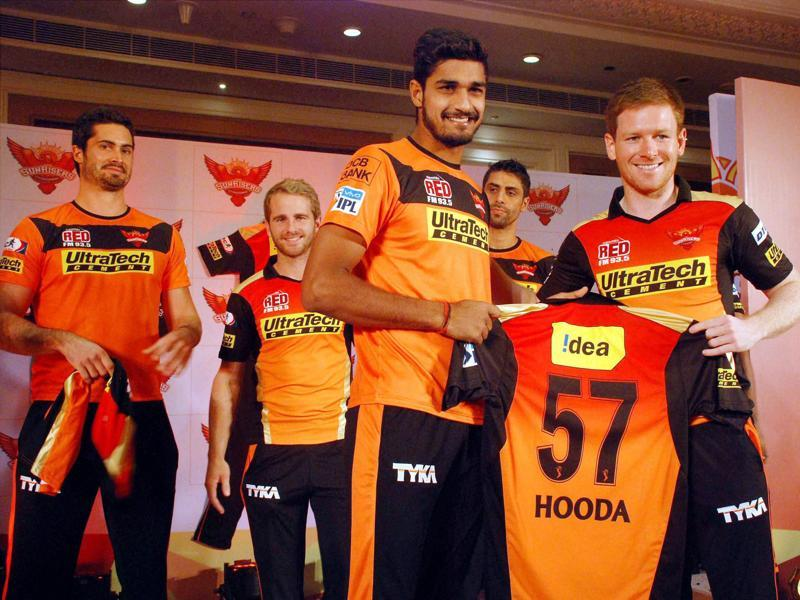 Sunrisers Hyderabad players at the launch of their squad and team jersey. (PTI)