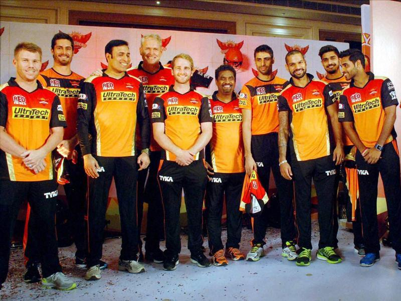Sunrisers Hyderabad players pose for a team photograph at the launch of their squad. (PTI)