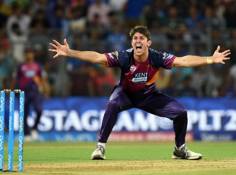 Rising Pune Supergiants player  Mitchell Marsh unsuccessful appeals for LBW against Mumbai Indians. (Kunal Patil/HT Photo)