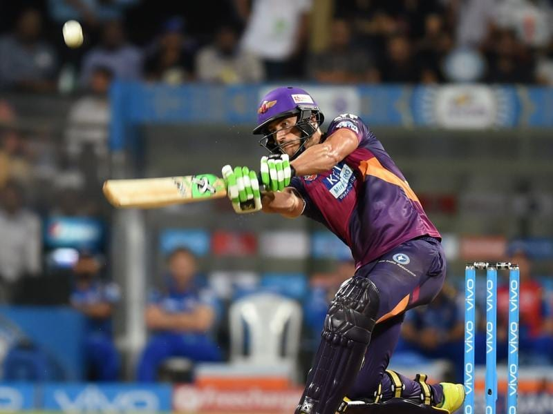 Rising Pune Supergiants Faf du Plessis plays a shot during the  IPL T20 cricket match. (Kunal Patil/HT Photo)