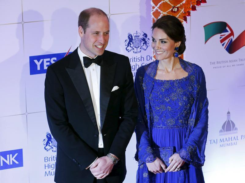 Britain's Prince William and his wife Catherine, Duchess of Cambridge, arrive for the charity gala in Mumbai.  (REUTERS)