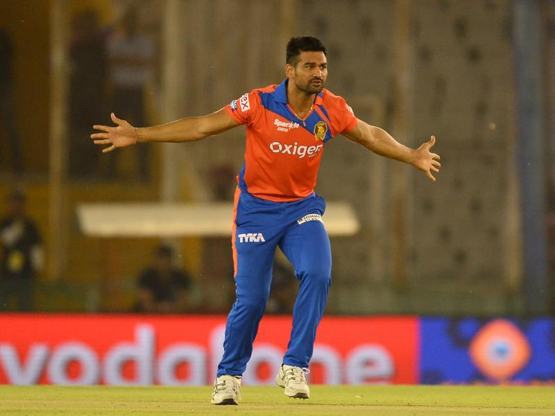Gujarat Lions bowler Pradeep Sangwan appeals for a leg before wicket (LBW) decision. (AFP Photo)