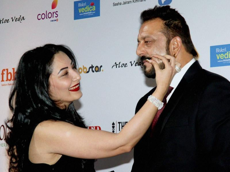 Sanjay Dutt with wife Manayat Dutt as they attend Femina Miss India Grand Finale 2016 in Mumbai on Saturday night . (PTI)
