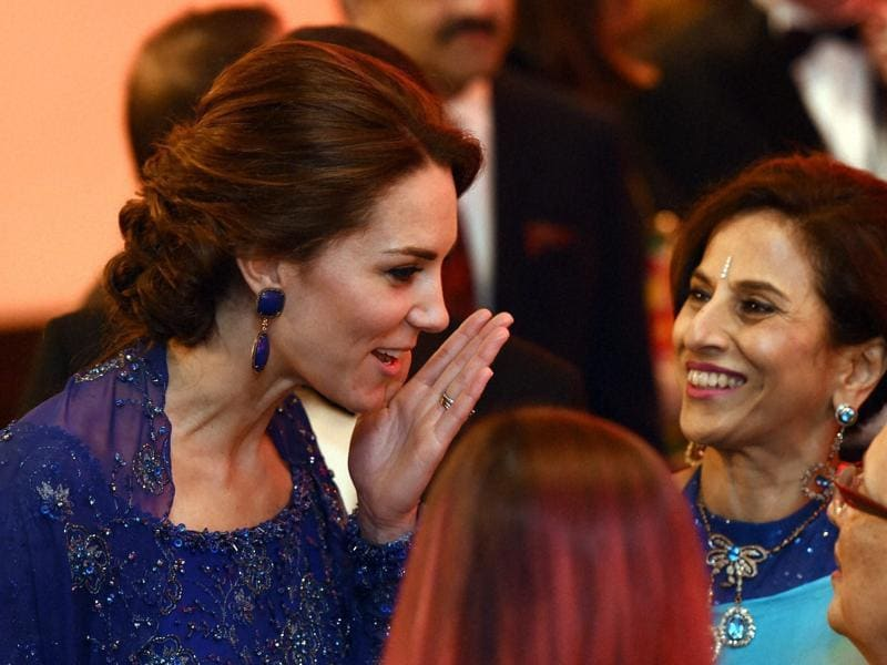 Catherine, Duchess of Cambridge with Shobha De during the Bollywood themed dinner at Taj Mahal Palace Hotel in Mumbai on Sunday.  (PTI)