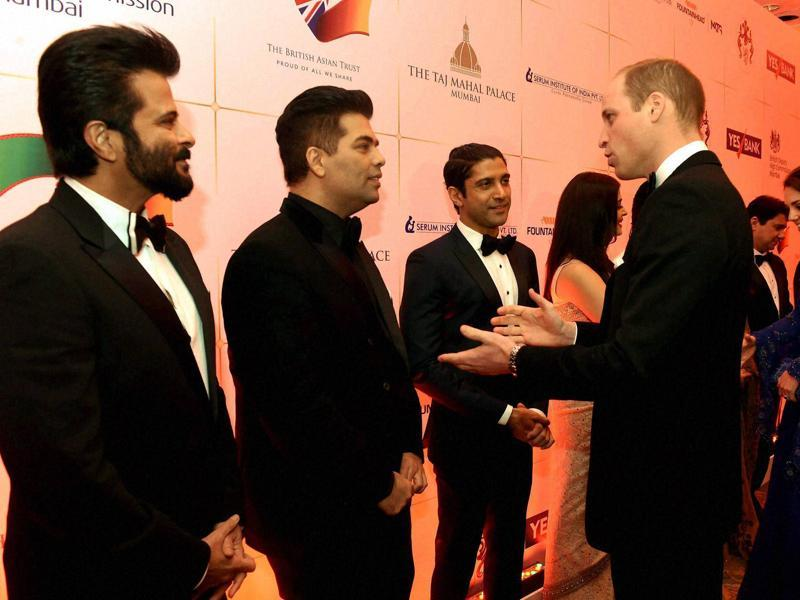 Prince William, Duke of Cambridge and Catherine, Duchess of Cambridge with actors Anil Kapoor, Karan Johar and Farhan Akhtar. (PTI)